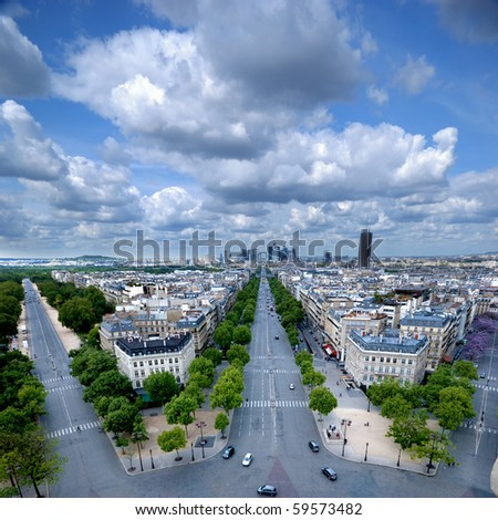 Morning view from Arc de Triomphe at Paris'  business district Defense