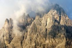 morning view from Dolomiti di Sesto or Sextener Dolomiten - Sextener Rotwand  or Croda Rossa di Sesto - South Tirol - Italy