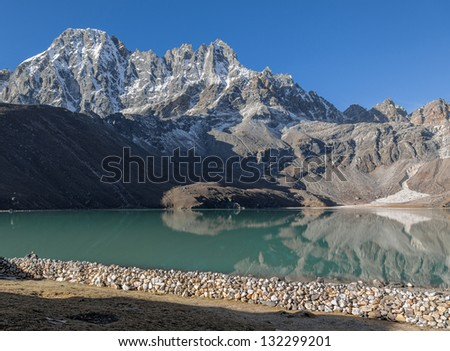 Morning view from the village of Gokyo on the lake Dudh Pokhari - Nepal, Himalayas