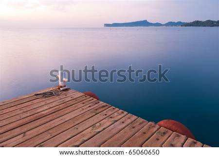 Morning view of pier and water