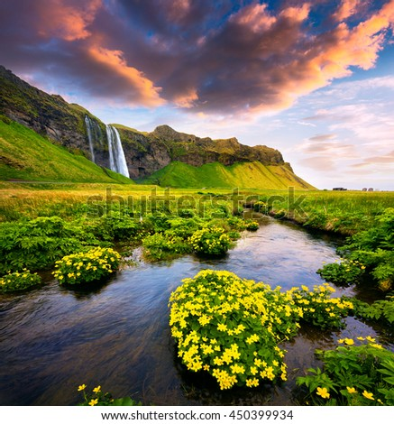 Morning view of Seljalandfoss Waterfall on Seljalandsa river in summer. Colorful sunrise in Iceland, Europe. Artistic style post processed photo.