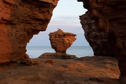 Morning view of Teacup Rock at Thunder Cove Beach, Prince Edward Island, Canada