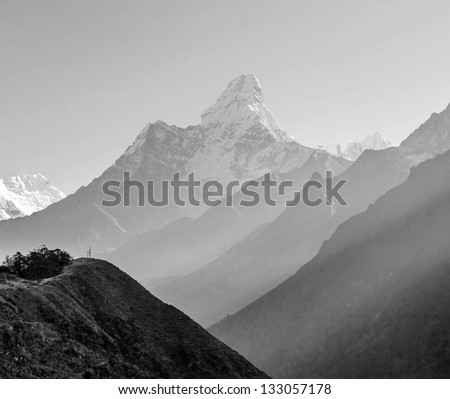 Morning view of the  Ama Dablam (6814 m) - Nepal, Himalayas (black and white)