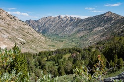 Morning view of the beautiful landscape around the Ruby Crest Trail of Ruby Mountain at Nevada