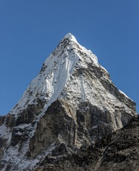 Morning view of the Chola (6069 m) in the area of Cho Oyu - Gokyo region, Nepal, Himalayas