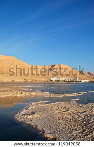 Morning view of the Dead Sea hotels