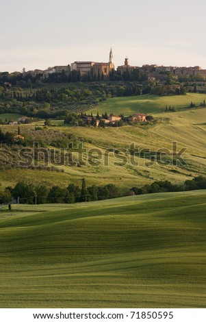 Morning view of the village in Tuscany