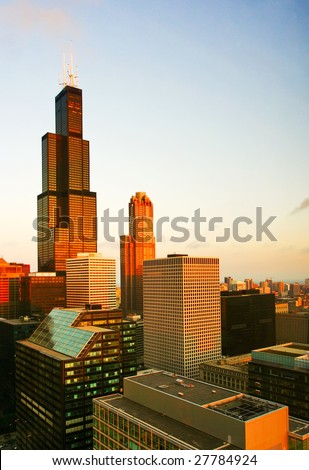 Morning view on Chicago city