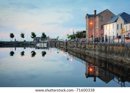 Morning view on Corrib river and street in Galway, Claddagh