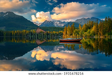 Morning view on High Tatras mountains - National park and Strbske pleso  (Strbske lake) mountains in Slovakia Foto d'archivio ©