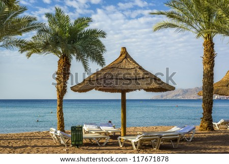 Morning view on sandy beach and Red Sea, Eilat, Israel