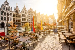 Morning view on the Grote Markt with cafe terrace in the center of Antwerpen city, Belgium