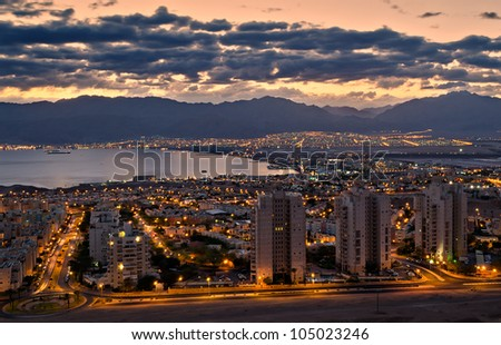 Morning view on the gulf of Aqaba and Eilat city, Israel