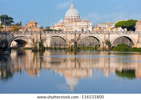 Morning view on Vatican over the Tiber river.