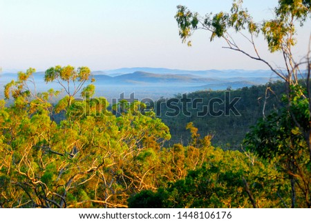 Morning vista from a ridge in Yourka Bush Heritage Australia Reserve, looking across Burdekin River valley, western edge of the Wet Tropics World Heritage Area, northeast Queensland. #1448106176