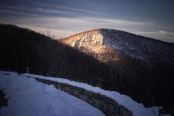 Morning winter light shining on Hawksbill Mountain, the tallest peak in Shenandoah National Park.