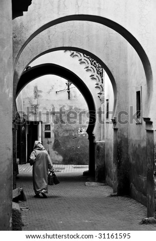 Moroccan Archways, Old City, Marrakesh - stock photo