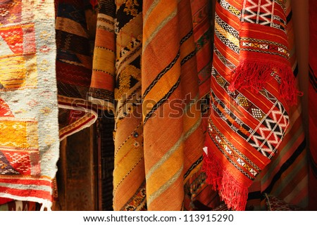 Moroccan Carpets in a street shop souk