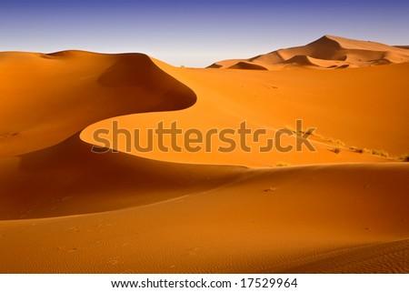 Moroccan desert dune background 05. Blue sky