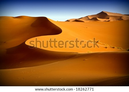 Moroccan desert dune background 08. Blue sky