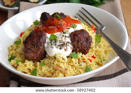 Moroccan lamb meatballs with couscous