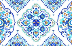 Moroccan medallion seamless tile 2 - aqua, turquoise and gold