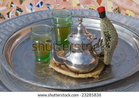 Moroccan Mint Tea Service - stock photo
