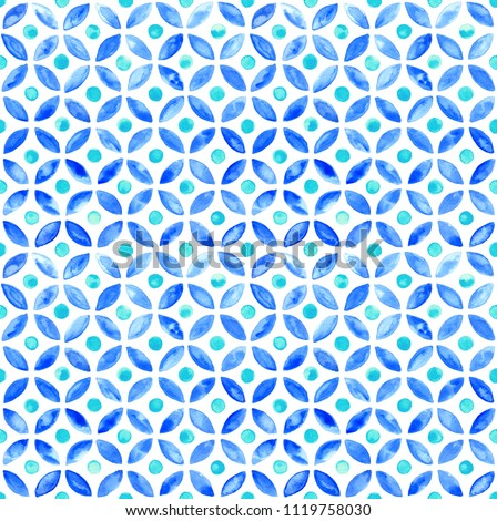 Moroccan simple seamless tile - navy and aqua watercolor