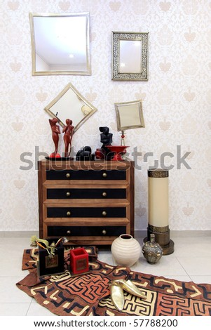 Moroccan style corner with oriental furniture and ornaments