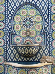 Moroccan style mosaic tile wall fountain