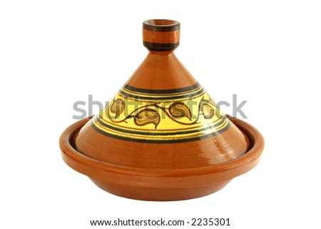 Moroccan Tagine isolated on white, oriental pot for cooking