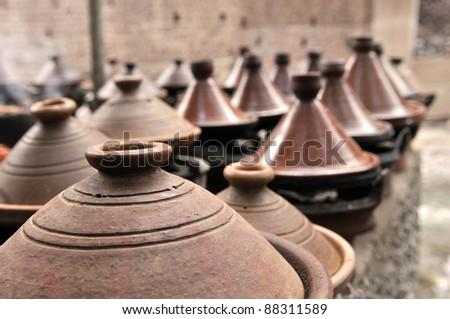 Moroccan tajines ceramic cookware  at the market - stock photo