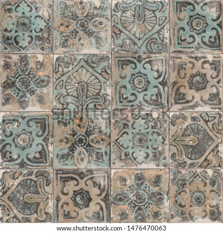 moroccan tile background. Traditional ornate portuguese decorative azulejos tiles #1476470063