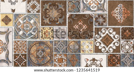 Moroccan tiles, ornaments, random wall tiles design or Brown Colored wall tiles Decor For home , wall decor on brown beige marble,Endless pattern can be used for wallpaper, linoleum, textile, webpage.