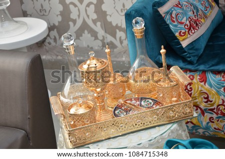 Moroccan Tyafer, traditional gift containers for the wedding ceremony, decorated with ornate golden embroidery.Moroccan henna .Moroccan wedding gifts for the bride #1084715348