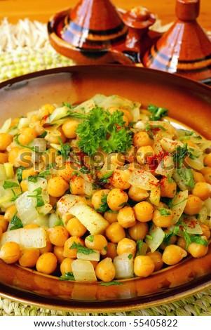 Moroccan warm chickpeas salad