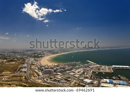 Morocco. Agadir. Aerial view of the city seen from the old kasbah hill