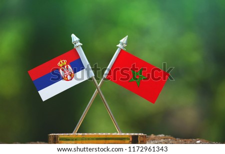 Morocco and Serbia small flag with blur green background #1172961343