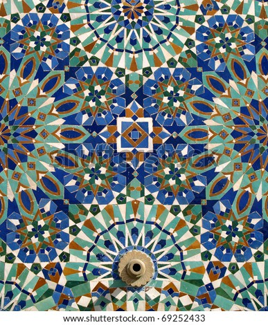 Morocco Casablanca typical arabesque or moorish ceramic tiles and fountain