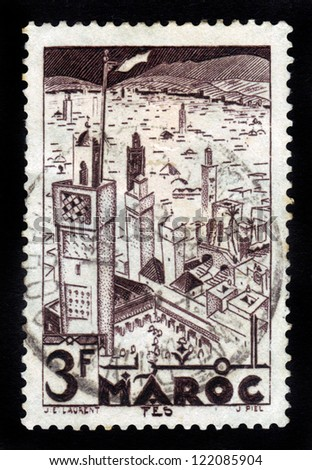 MOROCCO - CIRCA 1951: A stamp printed in French Morocco shows Mosques of  Fes, circa 1951