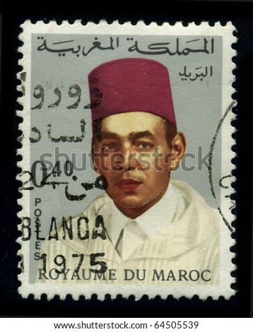 MOROCCO - CIRCA 1975: A stamp shows image of the portrait King Hassan II (July 9, 1929?July 23, 1999) was King of Morocco from 1961 until his death in 1999, circa 1975.