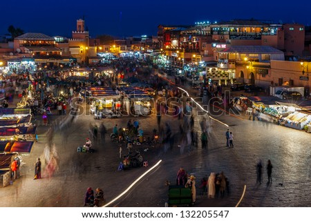 MOROCCO-DEC 24:The Night Market in the famous medina, a UNESCO site, in Marrakech, Morocco on Dec. 24, 2012. In the evening the square fills with food stands, attracting crowds of locals and tourists.