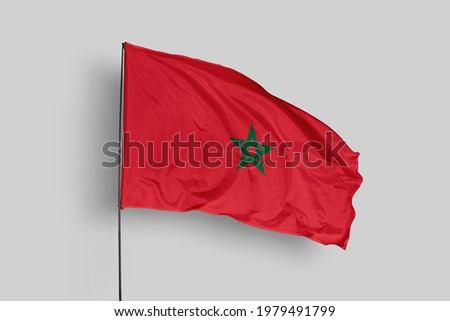 Morocco flag isolated on white background with clipping path. close up waving flag of Morocco. flag symbols of Morocco. Morocco flag frame with empty space for your text.