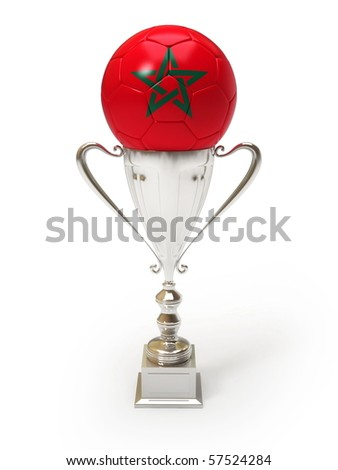 Morocco-Flag on the Soccer Ball on the Trophy Cup