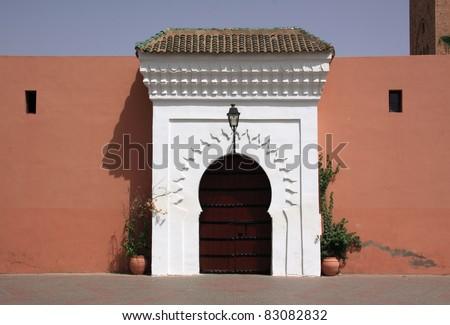 Morocco Marrakesh Beautiful Arabesque door - on of the doors to the Koutubia Mosque complex