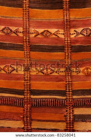 Morocco Marrakesh medina - detail ot typical Berber carpet on display