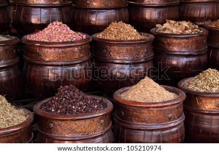 Morocco Marrakesh Spices, herbs and dried rosebuds in one of the medina's many souks