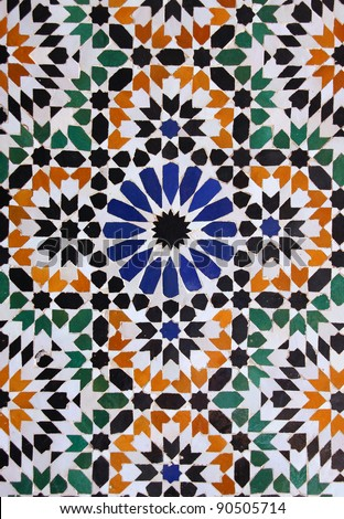 Morocco Marrakesh Typical old colorful Arabesque - Mauresque glazed ceramic wall  tiles
