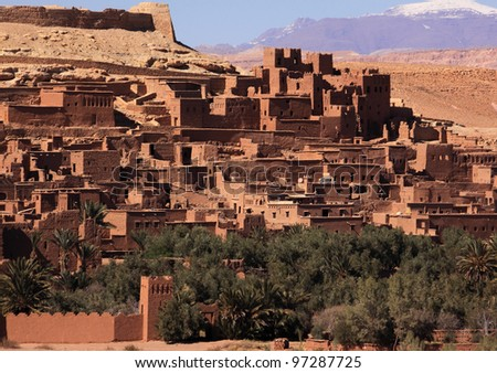 Morocco Ouarzazate  Ait Ben Haddou Medieval Kasbah built in adobe - UNESCO World Heritage Site. - stock photo