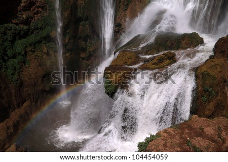 Morocco Ouzoud Waterfalls - detail and rainbow